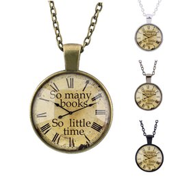 Wholesale Vintage Antique Necklace So Many Books So Little Time Dial Watch Pendant Choker Retro Bronze Silver Chain Jewelry Gift