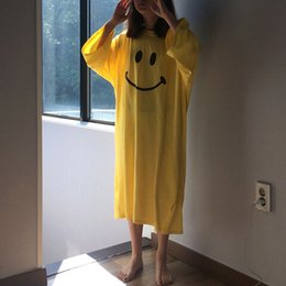 Wholesale Cute smiley face short sleeve split loose big yards long section round neck pajamas female students