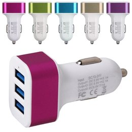 For iPhone 6s Car Charger Traver Adapter Car Plug Hot Selling Triple 3 USB Ports Car Charger 100pcs DHL Without Package