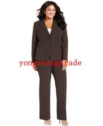 Plus Size Brown Women Suit Custom Made Plus Size Two-Button Blazer & Straight-Leg Pants HS7944