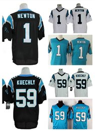 Wholesale HOT SALE Men s Panthers Elite Football Jerseys NEWTON KUECHLY High Quality Stitched authentic Two Colors Allowed