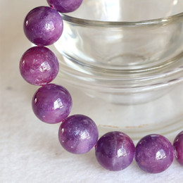 Wholesale Natural Genuine Purple Pink Ruby Bracelet Smooth Round beads Finished Stretch Bracelets 12mm 04362