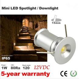 Free shipping round ceiling spot light Mini 1W downlight led 12VDC 120D Mini led lamp white or warm white Household lights