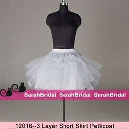 Wholesale Crinoline Skirts For Sale - Short Skirt Tulle Netting Crinoline Slips Underskirt 3 Layer Hoopless Petticoats for Summer Mini Bridal Gowns Wedding Dresses Sale Cheap