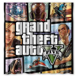 Wholesale Grand Theft Auto V Design Shower Curtain Size x cm Custom Waterproof Polyester Fabric Bath Shower Curtains