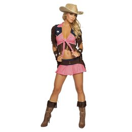 Wholesale New Pink Country Cowgirl Adult Outfit Circus Costume Halloween Masquerade Sexy West Cowboy Uniforms Role Play Clothes