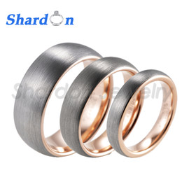 SHARDON Men's 4mm 6mm 8mm hot sale Brushed Domed Tungsten Ring with Plating Gold Inner couple rings