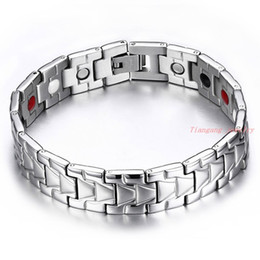 New Fashion Health Bracelets For Men Jewelry Stainless Steel Men Bracelets Jewelry With Magnetic Hematite Stone Round Chain
