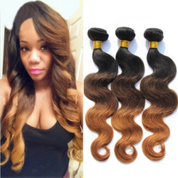 Indian Hair 3 Bundles 1B 4 30 Three Tone Ombre Hair Weave Raw Indian Human Hair Ombre Body Wave Tissage Ombre Human Hair