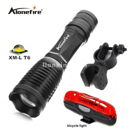 E007 CREE XML-T6 3800Lumens LED Flashlight Waterproof Zoomable Torch lights+Bicycle Light+Mount Holder Support Torch Clip