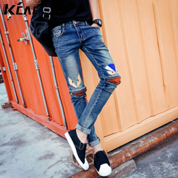 Wholesale-2016 Brand Jeans for Men Fashion Zipper decoration Skinny Fit Jeans For Male,Distressed Fashion Mens Denim Pants Plus Size 28-33