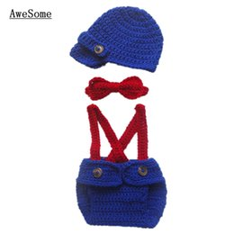 Wholesale Little Man Suit Handmade Crochet Baby Boy Blue Gentleman Hat Diaper Cover with Suspenders and Bow Tie Outfits Infant Toddler Photo Prop