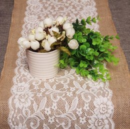 Wholesale DHL Free x108cm Vintage Burlap Lace Hessian Table Runner Natural Jute Country Party Wedding adornment decoration
