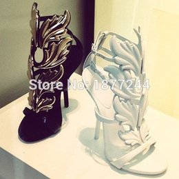 Wholesale Best selling Women Buckle Strap Angel Winged Gladiator Wedge Sandals Shoes Golden Leaf High Heels Party Dress Woman Pumps Shoes