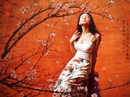 Wholesale HD Canvas print No frame Chinese classical Peach blossom Beauty