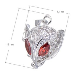 925 Silver Style Fox-head CZ Micro Pave Brass Pendant With Red Corundum Platinum Plated 19x13mm Hole:About 3.6mm 10PCS Lot Free Shipping