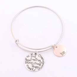 Wholesale 2016 hot Alex Ani Bangles quot Be quot Graffiti Friend Brave Happy Strong Thankful Bracelets Expandable Wire Bracelets