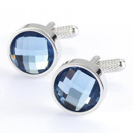 Wholesale Sapphire Crystal Simple Cufflinks Jewelry dozen Fashion Crystal Wedding Cufflinks Fashion jewelry made in china Handmade jewelry