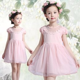Wholesale Little Girl Clothes For Sale - Factory Direct Sales 2016 New Arrival Summer Girls Princess Pink White Lace Dresses Kids Summer Clothes with Free Shipping for Little Girls