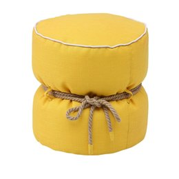 Wholesale Linen stool fashion fabric stool styrofoam particles filled stool a hemp rope tied bundle decoration leisure stool new styles yellow red