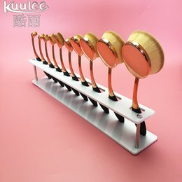 Wholesale Red white Clear Acrylic Display Rack holes Make Up Brushes Exhibition Holder Drying Shelf for Artis Toothbrush Makeup Brushes Stand