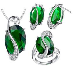 Acheter en ligne 925 ensembles de mariée-Mariage africain mystique Topaz Jewlery Sets pour les mariées 925 Sterling Silver Boucles d'oreilles en forme de boucle d'oreille collier nuptiale Set bijoux