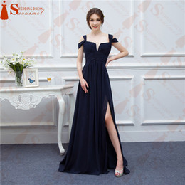 Wholesale Bariano Ocean Navy Blue Color Chiffon Long Events Party Dresses V neck Sexy Side Slit Cap Sleeve Bridesmaid Dresses