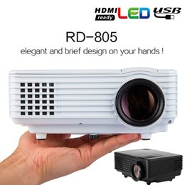 Wholesale HD P Projector Mini Portable Projectors RD805 LED LCD Home Theater Media Player HDMI VGA USB Support ATV DVB T XBOX Game Laptop PS4 KTV