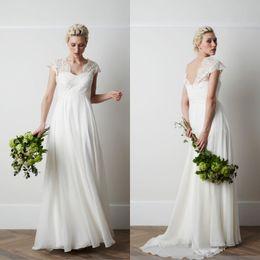 Empire Waist A line V Neck Floor Length Chiffon Beach Wedding Dresses With Short Sleeve Lace Garden Korean Style Wedding Gowns Maternity