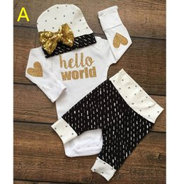 Wholesale hello world new guy girls boys bodysuits children One Pieces baby jumpsuit child rompers hat kids pants Joggers trousers clothing sets