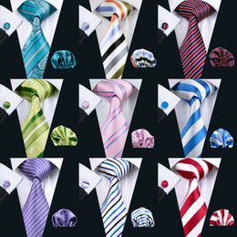 Wholesale Stripe Style Classic Tie Set Silk Hanky Cufflinks Jacquard Woven Necktie Men's Tie Set Business Party Work Wedding