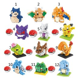 Wholesale Poke pokémon go DIY Building Blocks style Pikachu gengar Lapras Charmander Bulbasaur Jeni turtle Diamond Brick Toys B001