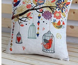 Wholesale 2016 New Vintage Personality Cotton Linen Tree Owl Cage Cushion Cover Pillow Case