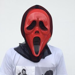 On Sale Red Ghost Mask with Black Glauze Full Face Halloween Party Mask Scary Devil Costume red color free shipping