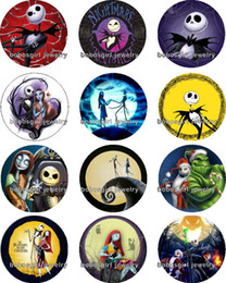 Wholesale The Nightmare Before Christmas glass Snap button Charm Popper for Snap Jewelry good quality Gl292 jewelry making