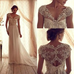 Anna Campbell Beach Wedding Dresses Cap Sleeves 2016 Elegant See Through Beading Corset Floor Length Ivory Chiffon V Neck 2016 Bridal Gowns