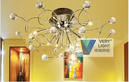 2016 montaje en el techo accesorios de iluminación araña de cristal moderno con 1 juego de 11 luces Chrom, Flush Mount Lámparas de techo LED G4 artefacto de iluminación para el pasillo, entrada, luz del dormitorio montaje en el techo accesorios de iluminación oferta