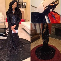 2018 Sexy Cheap Long Sleeves Black Sequins Mermaid Prom Dresses Plunging V Neckline Court Train Party Evening Gowns Women Celebrity Dresses
