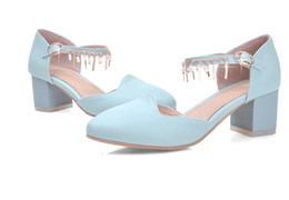 Wholesale 2016 Summer Sandals Size Women s Chunky Heel Sandals Pumps Fashion Lady Sexy Sweet Style High Heels Chunky Heels Dress Shoes Sandals