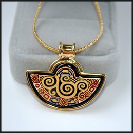 Klimt Series 18K gold-plated enamel necklaces for woman Fan Pendant Necklace designer women necklace Wedding jewelry
