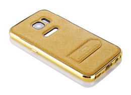 Wholesale Unique cell phone cases curved surface screen silk samsung s7 edge G9300 phone cases metal frame cellphone cover with support