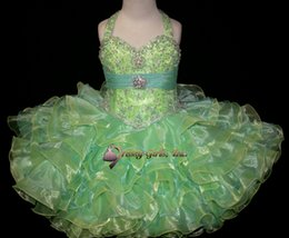 2016 Spring New Cute Cupcake Dresses Halter Refinement Crystal Mosaic Ruffle Girl's Pageant Dresses Birthday Wedding Kids Flower Dresses