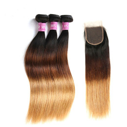 1B 4 27 Ombre Brazilian Straight Hair With Closure 3 Pieces Three Tone Ombre Human Hair Weaves Bundle With Silk Closures Straight