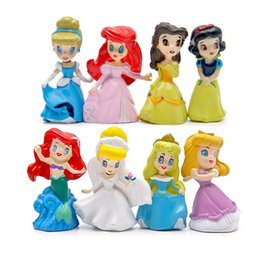 Wholesale 8pcs Cartoon baby grils Mermaid Princess resin figurines doll toys for kids terrarium estatueta fairy garden miniatures