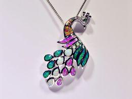 Wholesale & Retail Fashion Jewelry Fine Multi Fire Opal Stone Peacock Silver Plated Pendants For Women PJ16061904