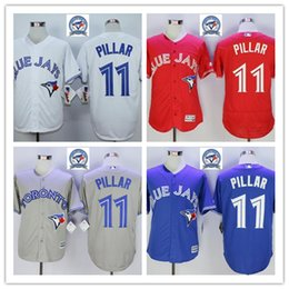 Wholesale Majestic - 2016 Majestic Official Cool Base MLB Stitched 40th Season Toronto Blue Jays #11 Kevin Pillar White BLue Red Gray Jerseys Mix Order