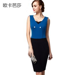 Summer New Arrival Sleeveless False two pieces Dress Contract Color Slim European Knee-length Bodycon Dress Blue and black