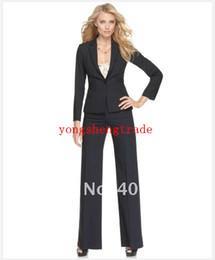 Black Women Suit Long Sleeve Single Button Jacket & Pants Custom Lady Suit 680