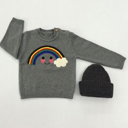 2017 manteau pull à manches Pulls enfants pour bébés Printemps Automne Outerwear Pull en tricot avec Rainbow Cloud INS Vêtements enfants populaires Pull à manches longues Gris manteau pull à manches ventes
