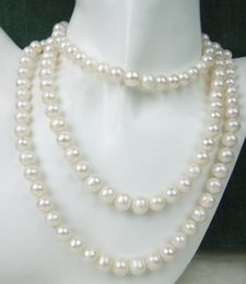 Classic 8-9mm south sea round white round pearl necklace 38 inch 14k gold clasp